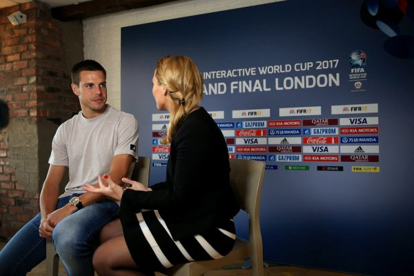 LONDON, ENGLAND - AUGUST 15:  Cesar Azpilicueta of Chelsea is interviewd ahead of the FIFA Interactive World Cup 2017 on August 15, 2017 in London, England.  (Photo by Ben Hoskins - FIFA/FIFA via Getty Images) *** Local Caption *** Cesar Azpilicueta